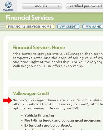 vw credit sales pitch