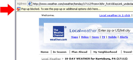 Weather Popup blocked